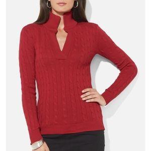 Ralph Lauren split neck cable red sweater L
